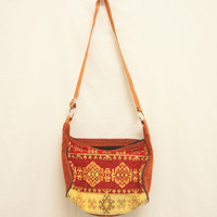 90s Red and Gold Gypsy Kilim Purse | Vintage Tapestry Native American Ethnic Handbag | Boho Chic Crossbody Aztec Pattern Turkish Carpet Bag