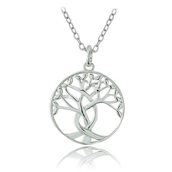 Sterling Silver Polished Tree of Life Necklace