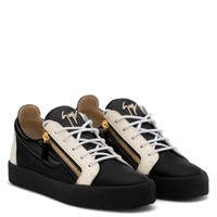 Giuseppe Zanotti Gz Frankie Black Calfskin Leather Low-top Sneaker With White Patent Leather Insert - Best Deal Online