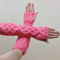 Long Pink Cable Knit Fingerless Gloves Peach Hobo Gauntlets Mittens Arm Warmers Knitwear