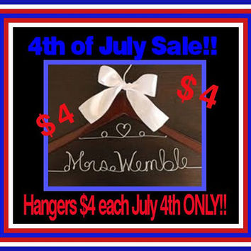 4th of July Sale  Personalized Custom Double Lined Hanger with a Heart Bridal Hanger Gift For Bride Wedding Dress Hanger