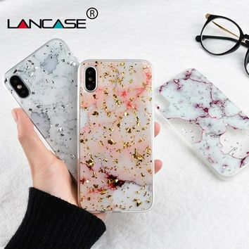 LANCASE Marble Case for iPhone X Cover Glitter Shiny Transparent Case for iPhone X 8 7 6 6s Plus Case Funda Sparkle Fashion Capa