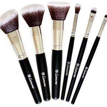 LMFXT3 Travel Makeup Brush Set - Professional Kit with 6 Essential Face and Eye Makeup Brushes - Kabuki Eyeshadow Powder Foundation Blush - Synthetic Bristles of Premium Quality for Airbrushed Finish