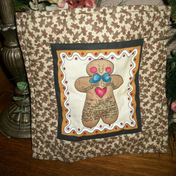 Gingerbread Cookie Recipe Fabric Centerpiece Hot Pad Cookies for Santa Place Mat Christmas Decoration