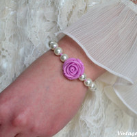 Free Matching Earrings - Bridesmaid Bracelet Ivory Pearl Bridesmaids Bracelet Purple Rose Jewelry Flower Bracelet - Handmade Pearl Bracelet