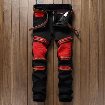 2017 hot sell fashion the new trend of men's patchwork tothe club Knee small zipper straight no more play black jeans, 8806