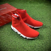 Best Online Sale Balenciaga x Supreme Custom Speed Trainer High Top Sock Sneakers Red White Casual Shoes