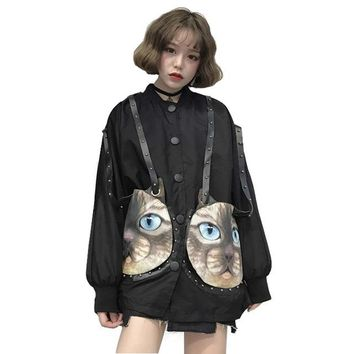 Spring Women Jackets 2018 New Japanese Soft Sister Rivets Long Bf Style Loose Thin Jacket Student Causalsunscreen Clothes