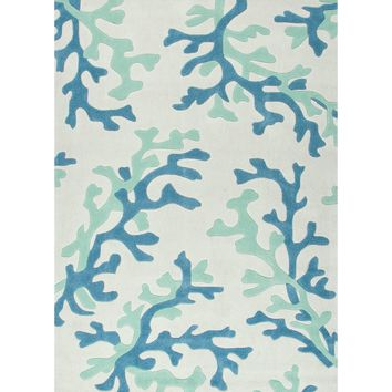 Fusion Coll. Hand-Tufted Coastal Pattern Polyester Ivory/Blue Coral Fixation Area Rug (9 x 12)