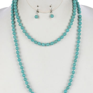 "50"" turquoise natural stone necklace .30"" earrings"