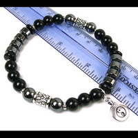 Unisex Yoga Bracelet, Ying Yang Tai Chi Bracelet, Tai Chi Jewelry, Men's Stretch Bracelet, Men's Jewelry, Gift for Him, Hematite Bracelet