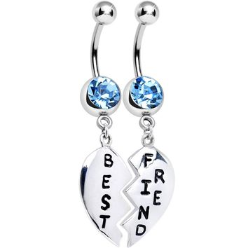 Aqua Gem Best Friend Dedicated Heart Dangle Belly Ring Set