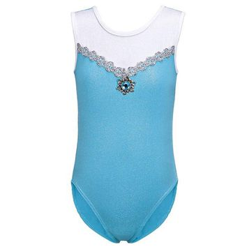 Girls Gymnastic Leotards Kids Ribbon Sleeveless 3-14Y Dance Leotards for Kid Girls Training Biketard Dancewear Practice Costume