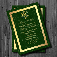 Printable Christmas Party Invitation-Snowflake-Holiday-New Years-Office Party-Gold and Green Custom colors