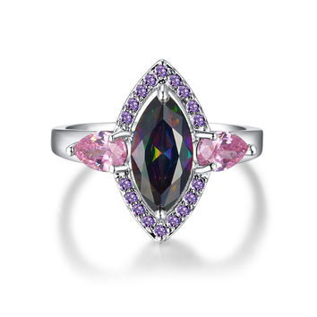 CQ Art Deco Jewelry Cocktail Party Wedding Rings Rainbow Pink Topaz Amethyst 18K White Gold Fashion Ring for Women Black Friday