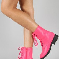 Qupid Missile-04 Neon Military Lace Up Bootie