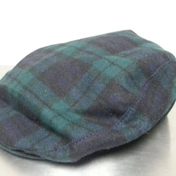Vintage Pendleton Green Plaid Cabbie Newsboy Cabbie Hat Size XL Made In USA Portland Oregon Hipster Style Dad Hat Golf Cap Fall Fashion
