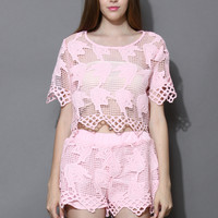 Pink Whirling Crochet Crop Top and Shorts Set Pink S