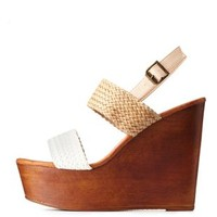 Bamboo Braided Color Block Wooden Wedges
