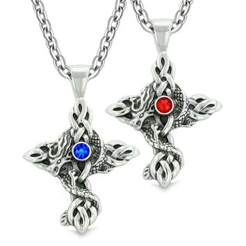 Fire Dragon Celtic Knots Protection Cross Amulets Love Couples Best Friends Set Blue Red Necklaces