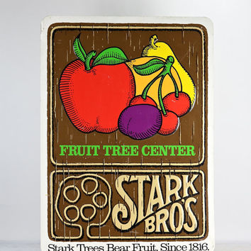 Vintage Stark Bros. Sign, Stark Bros. Nursery Metal Sign, Vintage Metal Sign, Old Advertising Sign, Vintage Wall Decor, MidCentury Wall Art