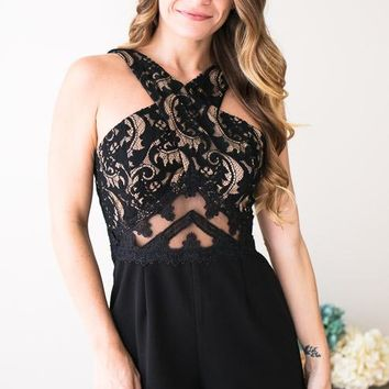 Cora Cross Front Lace Romper
