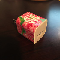 Lilly Pulitzer Inspired Phone Charger Monogram Decal Wrap