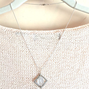 Sparkling Phantom Quartz nugget and Thai Hill Tribe silver pendant necklace,  gemstone necklace, Modern,