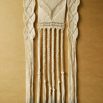 EXTRA LARGE Macrame Wall Hanging with dark grey-blue Ombre Effect