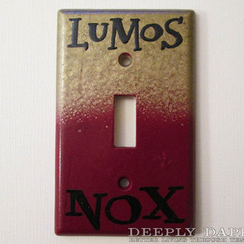 Harry Potter Gryffindor Gold and Red Lumos Nox Light Switch Plate House Colors Switchplate by Deeplydapper