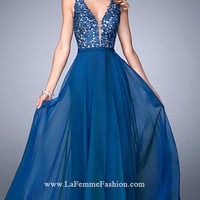 V-Neck Formal Gown with Embroidered Top by La Femme