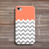 iPhone 4/ 4s and 5 Case - Chevron Glitter Coral iPhone 4 5 Cover - Geometric iPhone Hard Case-Pretty Girly Peach Silver Fashion