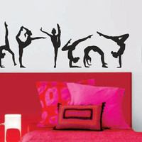 Gymnastics Girls Silhouettes Set of Six / wall art vinyl decal stickers.