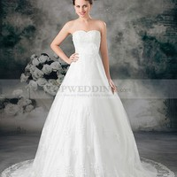 Sweetheart Beaded Embroidered Lace over Satin A Line Wedding Dress with Flower