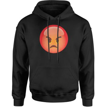Color Emoticon - Red Angry Face Smiley Adult Hoodie Sweatshirt