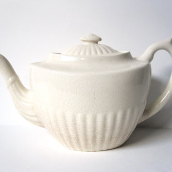 Cream Colored Teapot from England Vintage by CarpeDiemTreasures
