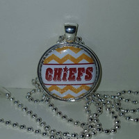 "KC Chiefs 1"" Pendant Necklace or choice of Keychain free shipping kansas city chiefs"