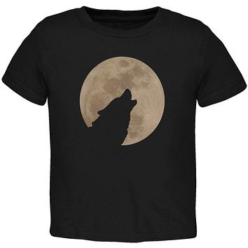 Wolf Howling Moon Silhouette Toddler T Shirt