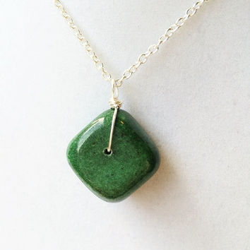 Square Green Dolomite Marble Stone Minimalist Silver Layering Necklace
