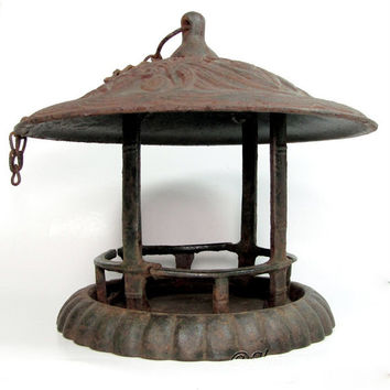 Vintage JAPANESE GARDEN LANTERN Pagoda Candle Cast Iron Bird Feeder Weathered