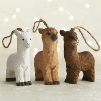 Carved Wood Alpaca Ornaments