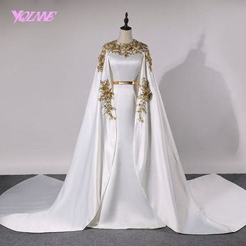 YQLNNE Dubai Evening Dresses 2018 Long Women Prom Gown Dress Satin Lace Appliques Crystals Vestido De Festa Robe De Soiree