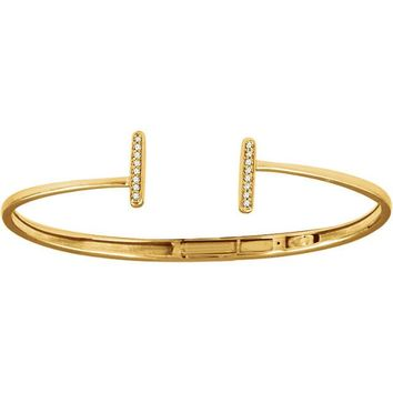Diamond Bar Hinged Cuff Bracelet - 14k