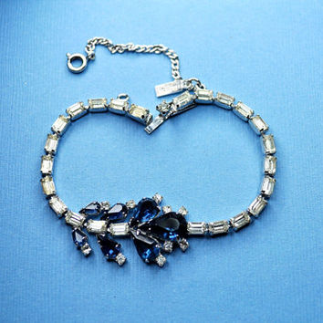 VOLUPTE RARE Vintage Silver, Sapphire Blue and Clear Rhinestone Bracelet, Marvelous!  #A691