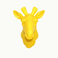 The Aldara - Faux Taxidermy - Yellow Resin Giraffe Head- Resin African Safari Animal Decor By White Faux Taxidermy For Nursery or Home