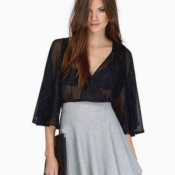Half Angel Sleeve V-neck Blouse