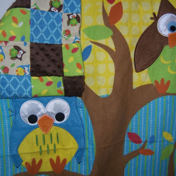 Minky and Flannel Owl Patchwork Baby Quilt - READY TO SHIP - 36 x 40 Baby Blanket - Owl Crib Nursury Bedding - Minky and Flannel Blanket -