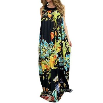 VONE05W5 Boho 2017 Women Sleeveless Floral Print Beach Party Long Maxi Dress Summer Ladies Tunic Loose Casual Loose Vestido Kaftan