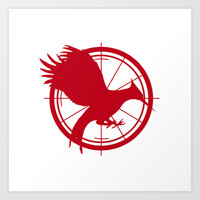 Catching Fire MockingJay - Red Art Print by Lauren Lee Designs