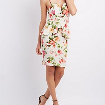 PLUNGING FLORAL PRINT PEPLUM DRESS